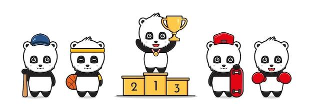 Panda mignon avec illustration de dessin animé sur le thème du sport. concevoir un style cartoon plat isolé