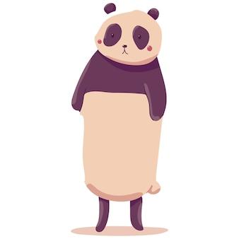 Panda mignon isolé sur fond blanc.