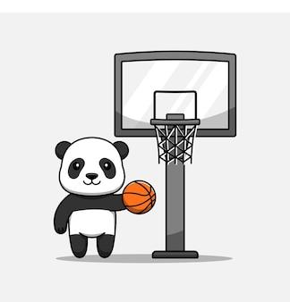 Panda mignon jouant au basket seul