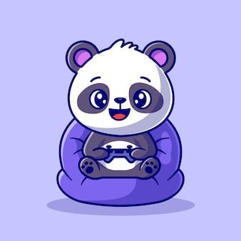 Panda mignon jouant au jeu cartoon vector icon illustration. concept d'icône de technologie animale isolé vecteur premium. style de dessin animé plat