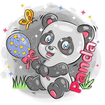 Panda mignon jouant des jouets avec une expression joyeuse illustration de dessin animé coloré.