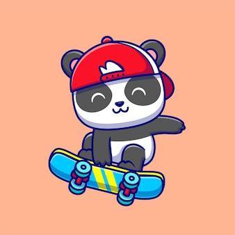 Panda mignon jouant à la planche à roulettes cartoon vector icon illustration. concept d'icône de sport animal isolé vecteur premium. style de dessin animé plat