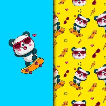 Panda mignon jouant à la planche à roulettes. modèle sans couture.