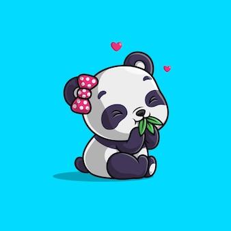 Panda mignon mange une feuille de bambou isolée sur bleu