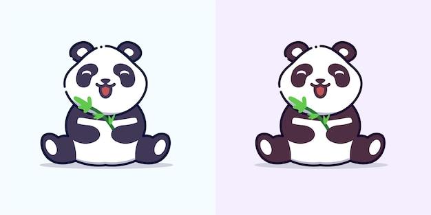 Panda mignon mange illustration d'icône de dessin animé de bambou
