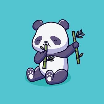 Panda mignon mangeant une illustration de dessin animé de bambou