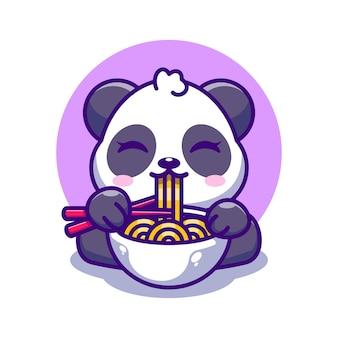 Panda mignon mangeant des ramen avec dessin animé de baguettes