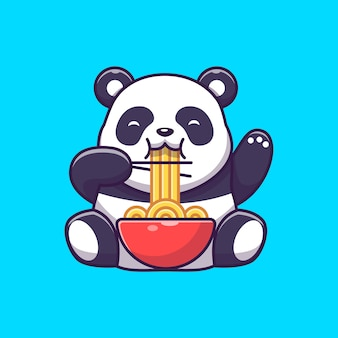 Panda mignon manger des nouilles ramen icône illustration. personnage de dessin animé de mascotte panda. concept d'icône animale isolé