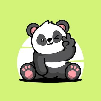 Panda mignon mascotte vecteur icône illustration de personnage de dessin animé
