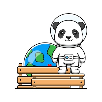 Panda mignon avec miniature de la planète terre