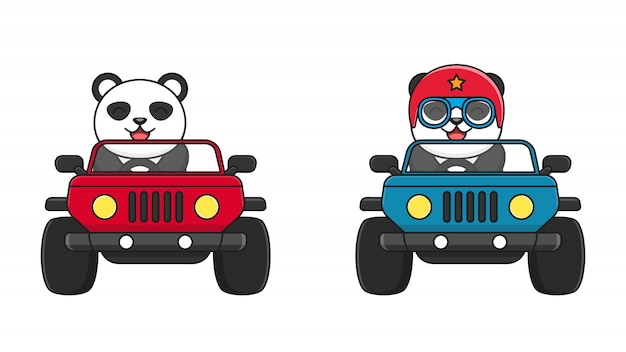 Panda mignon monter une voiture