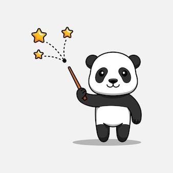 Panda mignon montrant quelques étoiles