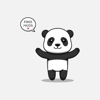 Panda mignon offrant un câlin gratuit