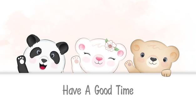 Panda mignon et ours agitant une illustration de patte