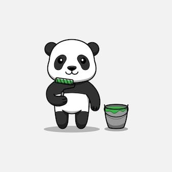 Panda mignon avec outil de peinture