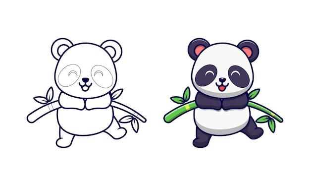 Panda mignon sur les pages de coloriage de dessin animé de bambou pour les enfants