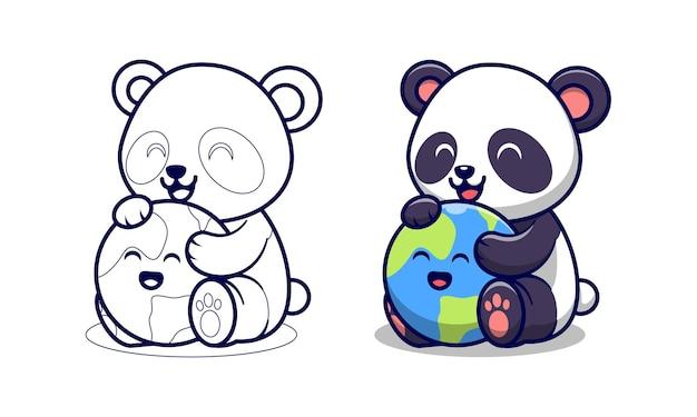 Panda mignon avec des pages de coloriage de dessin animé de terre pour les enfants