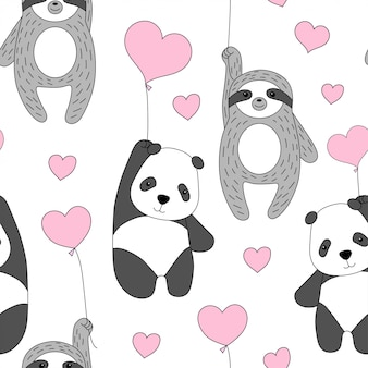 Panda mignon et paresse volent sur des ballons.