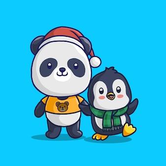 Panda mignon et petit pingouin isolé sur bleu