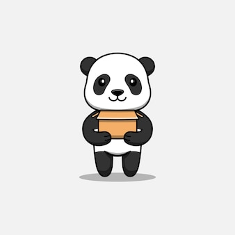 Panda mignon portant un carton
