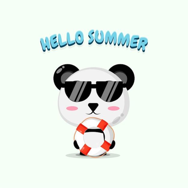 Panda mignon portant un char avec des salutations d'été