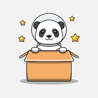 Panda mignon portant un costume d'astronaute dans le carton