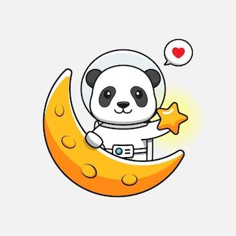 Panda mignon portant un costume d'astronaute dans la lune