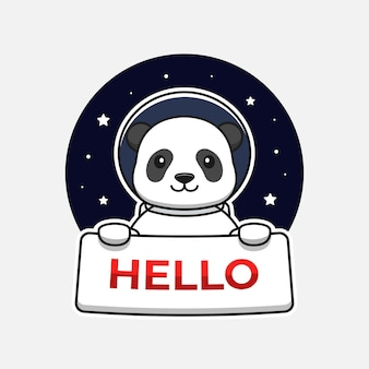 Panda Mignon Portant Un Costume D'astronaute Portant Une Bannière De Bonjour Vecteur Premium