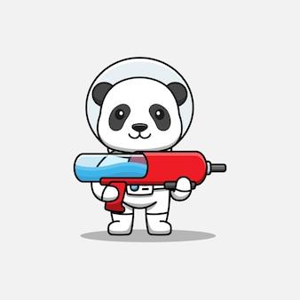 Panda mignon portant un costume d'astronaute portant un pistolet