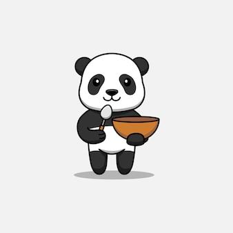 Panda mignon portant une cuillère et un bol