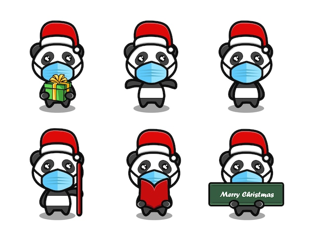 Panda mignon portant un ensemble de dessins animés de chapeau de noël
