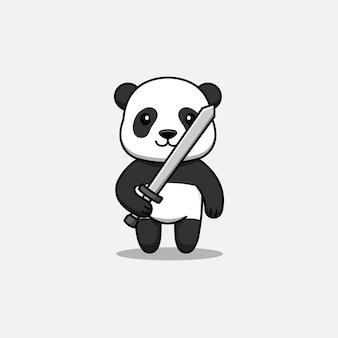 Panda mignon portant une épée