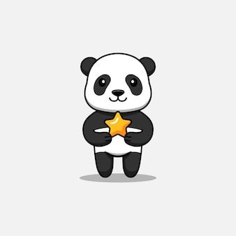 Panda mignon portant une étoile