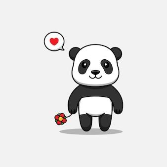 Panda mignon portant une fleur