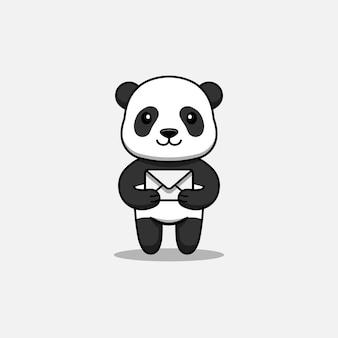 Panda mignon portant une lettre
