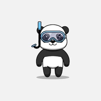 Panda mignon portant des lunettes de plongée