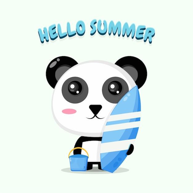 Panda mignon portant une planche de surf avec des salutations d'été