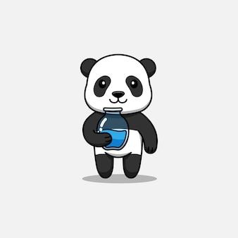 Panda mignon portant un pot d'eau