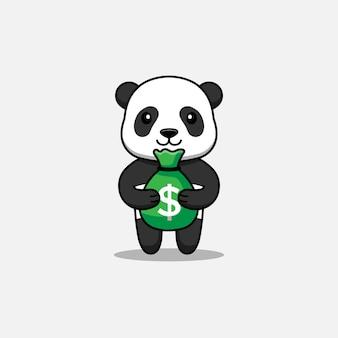Panda mignon portant un sac d'argent