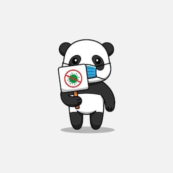 Panda mignon portant un signe contre le virus