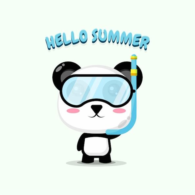 Panda mignon portant des vêtements de plongée avec des salutations d'été