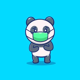 Panda mignon porter masque cartoon icône illustration. caractère de mascotte animale. concept icône santé animale isolé