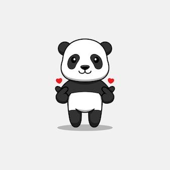 Panda mignon avec pose de main d'amour