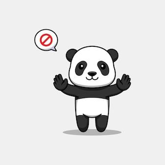 Panda mignon avec pose de main interdite