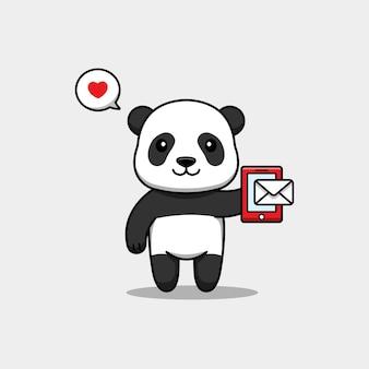 Panda mignon recevant un message sur le smartphone