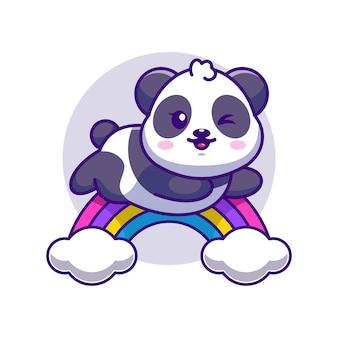Panda mignon sautant avec dessin animé arc-en-ciel