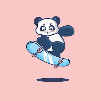 Panda mignon sautant avec la planche à roulettes