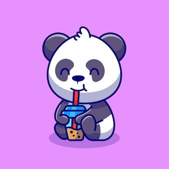 Panda mignon en sirotant du thé au lait boba cartoon icône illustration concept icône boisson animale