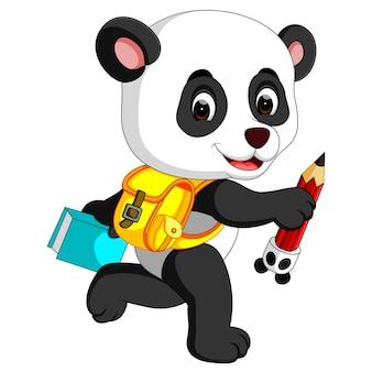 Panda mignon sur le chemin de l'école