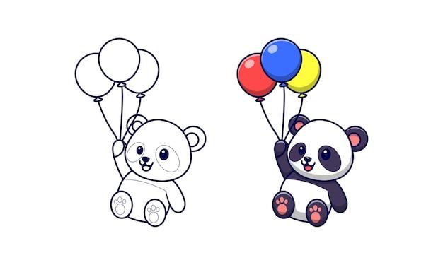 Panda mignon tenant des ballons coloriages de dessins animés pour les enfants